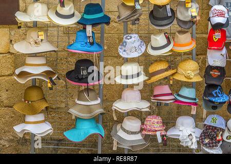 Hat Shop, Rhodes Town, Greece - Stock Image