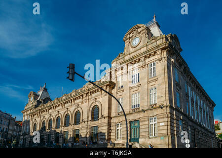 Porto, Portugal - April 29, 2019: Exterior of Sao Bento Train Station, famous for its beautiful azulejo tiled walls - Stock Image