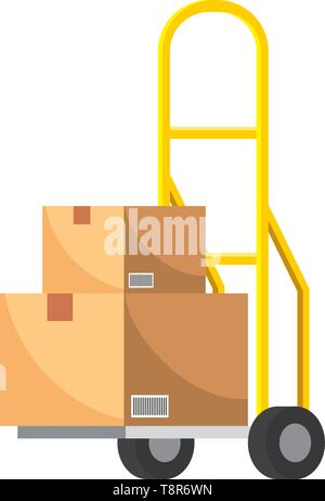 pushcart with box icon cartoon vector illustration graphic design - Stock Image