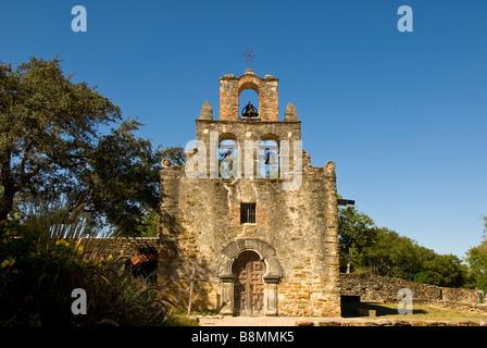 Mission Espada exterior front door bell tower San Antonio Texas tx Missions National Historical Park san antonio - Stock Image