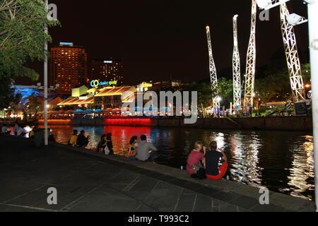 clark quay Singapore, vibrant city nightlife - Stock Image