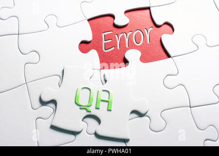 The Words QA And Error In Missing Piece Jigsaw Puzzle - Stock Image