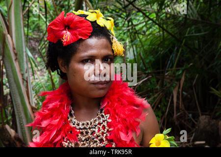 Woman of Kofure Tribe, Tufi, Oro Province, Papua New Guinea - Stock Image