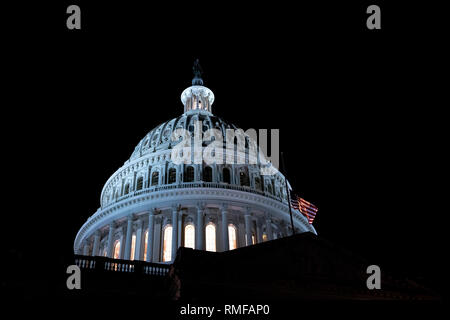 Washington, United States Of America. 14th Feb, 2019. The United States Capitol Building is seen in Washington, DC on February 14, 2019. The United States Senate and House of Representatives passed legislation to fund the United States Government through the remainder of 2019. Credit: The Photo Access/Alamy Live News - Stock Image