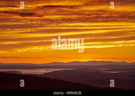 Sunset as seen from Cadillac Mountain in Acadia National Park, Maine - Stock Image