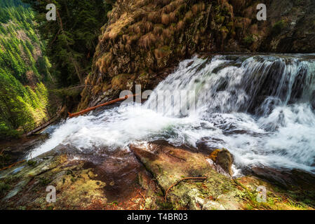 Waterfall in the mountain, looking from top. Wooden bridge in bottom. Beautiful scenery from Canyon of waterfalls in Bulgaria near Smolyan city. - Stock Image