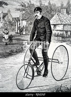 Illustration showing the Cripper tricycle with chain drive, made by Humber & Co; Nottingham, England. 1887 - Stock Image