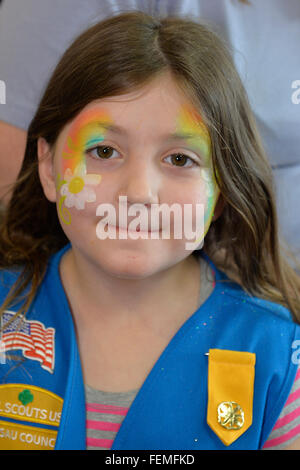 Wantagh, New York, USA. 7th February 2016. AYLA SHAH, 5, of Merrick, has a daisy rainbow painted on her face during - Stock Image