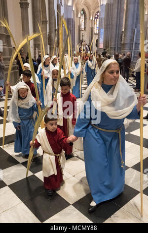 Tenerife, Canary Islands, girls and boys preparing to lead the Palm Sunday Holy Week procession in the Cathedral of San Cristobal de La Laguna. - Stock Image