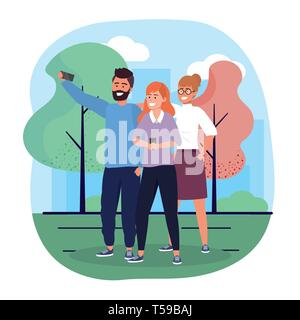 women and man friends with smartphone and trees vector illustration - Stock Image