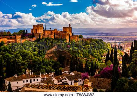 The Alhambra palace, Granada, Granada Province, Andalusia, Spain. - Stock Image