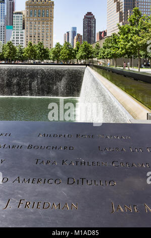 National September 11 Memorial New York City - Stock Image