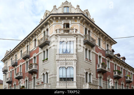 TURIN, ITALY - SEPTEMBER 10, 2017: Art Nouveau building architecture facade with floral decorations in Turin, Italy - Stock Image