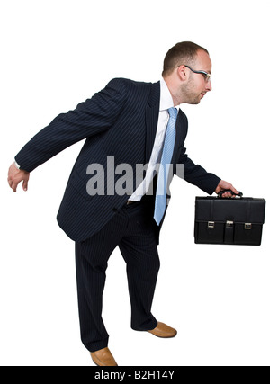 businessman in hurry on isolated background - Stock Image