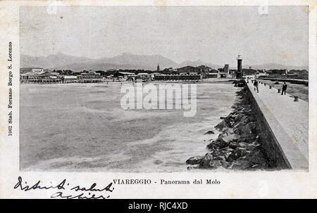 Viareggio, Italy - Panorama from the Pier. - Stock Image