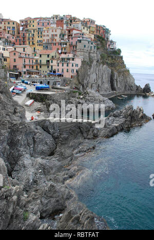 Manarola village at twilight. Cinque Terre National Park, Liguria - Stock Image