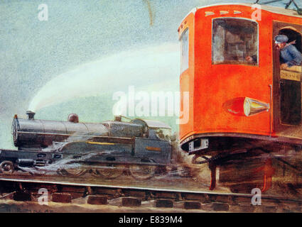 Steam versus electric traction flyer circa 1920 - Stock Image