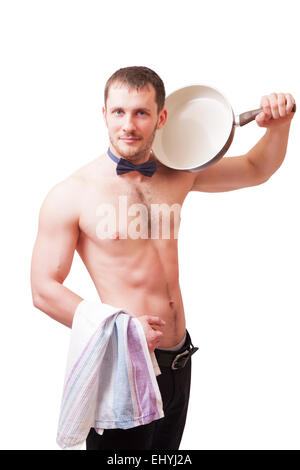 Attractive man holding a towel and a frying pan, isolated - Stock Image