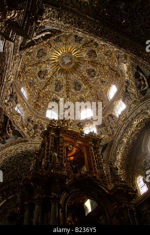 The Interior of Saint Domingo Guzman Church Puebla City Mexico - Stock Image