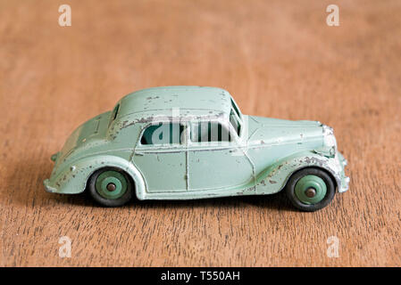 Riley vintage Dinky diecast toy car in green No 40A  1947 made in England by Meccano Ltd. - Stock Image
