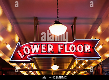 Lower floor sign in Pike Place Market - Stock Image