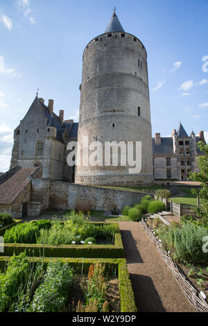 Chateaudun, France. Picturesque view of medieval Chateau de Chateaudun. - Stock Image