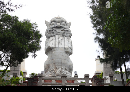 The large wind lion god statue at ShangYi Environmental Protection Park. Kinmen County, Taiwan - Stock Image