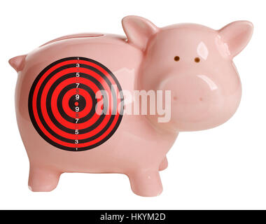 Pink piggy bank with target looking at camera - Stock Image