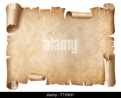 Ancient worn parchment or old document isolated - Stock Image