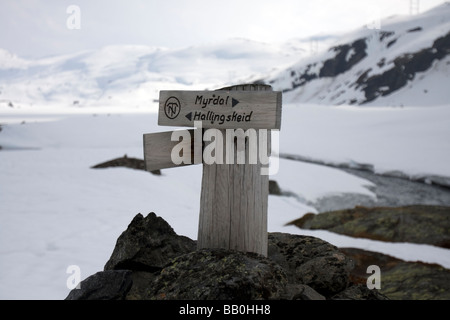 Route marker between Myrdal and Hallingkeid, Hordaland, Norway - Stock Image