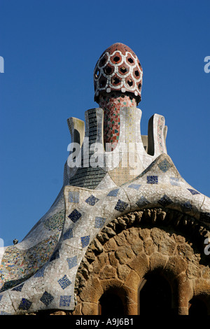 Barcelona Parc Guell by Gaudi porter s lodge  - Stock Image