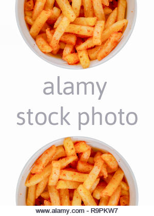 spicy french fries for food isolated white background - Stock Image