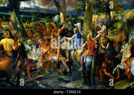 Alexander the Great and Porus 1665–1673 Charles LE BRUN 1619 – 1690  France, French.( Alexander shows magnanimity to the Indian king Porus, whom he has just defeated, by allowing him to keep his kingdom.) - Stock Image