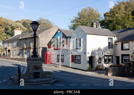 Village centre and the Maypole Inn, Warley, West Yorkshire - Stock Image
