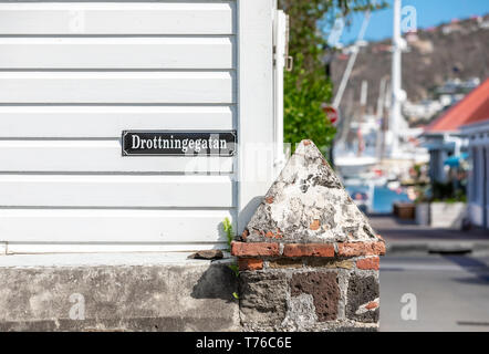 Street sign at a street corner in Gustavia, St Barts - Stock Image