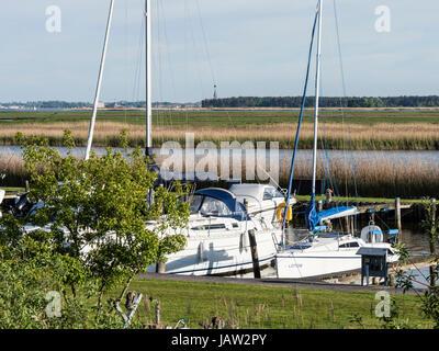 Small marina at Zingst, Baltic Sea peninsula of Fischland-Darß-Zingst, Zingst, Mecklenburg-Vorpommern, Germany - Stock Image