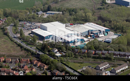 aerial view of the Morrisons Manufacturing factory at Wharton Bridge, - Stock Image