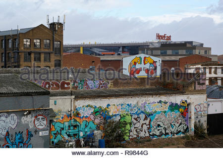 Hackney Wick rooftops to the Here East building - Stock Image