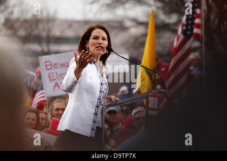 United States Congresswoman Michelle Bachman (R - Minnesota) speaks at an anti-Obamacare rally on the grounds of - Stock Image