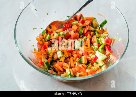 Homemade Carrot Salad in Big Glass Bowl. Organic Fresh Food. - Stock Image
