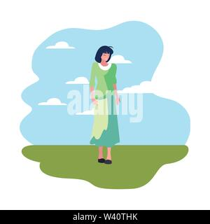 woman character standing sky background vector illustration - Stock Image
