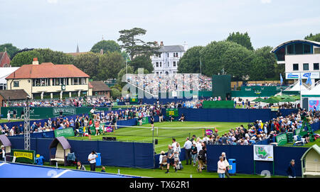 Eastbourne, UK. 24th June, 2019. View across the courts at the Nature Valley International tennis tournament held at Devonshire Park in Eastbourne . Credit: Simon Dack/Alamy Live News - Stock Image
