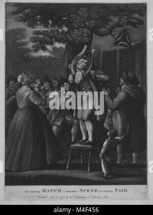 The grinning match, a humourous scene at a country fair W. Humphreys, 1775 - Stock Image