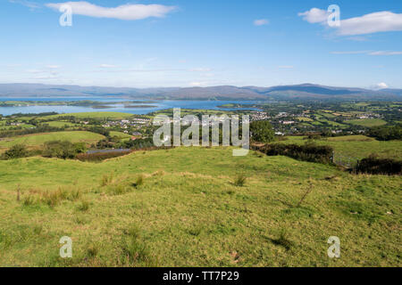 View  towards Bantry Bay and its island from the hills surrounding the town of Bantry,County Cork,Ireland. - Stock Image