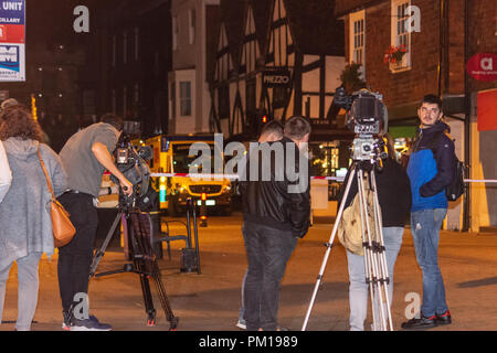 Salisbury Wiltshire, England, 16th September 2018  Press filming the scene at a police barrier after 2 diners were taken ill in Prezzos Salisbury in a possible repeat of the Novichok poisonings - Stock Image