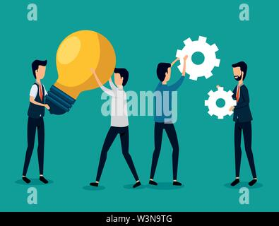 businessmen teamwork with bulb idea and gears - Stock Image