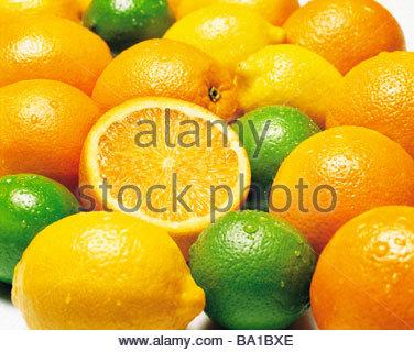 Lemons limes and oranges - Stock Image