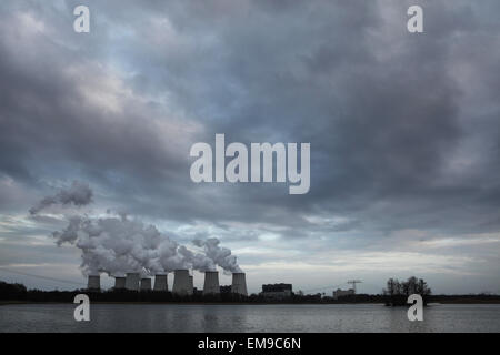 Janschwalde Power Station near Cottbus in Lower Lusatia, Brandenburg, Germany. The power station fires raw brown - Stock Image