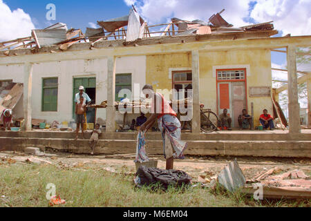 Floods in Mozambique,  March 2000; Mombane town was badly hit by the floods and the cyclone.  Many concrete buildings - Stock Image