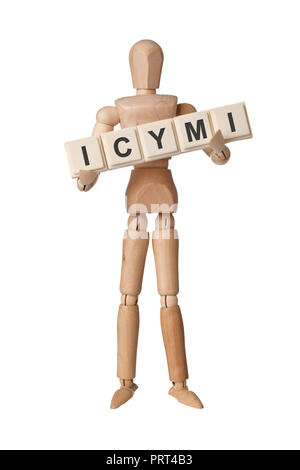 Wooden figurine with the letters ICYMI isolated on white background - Stock Image